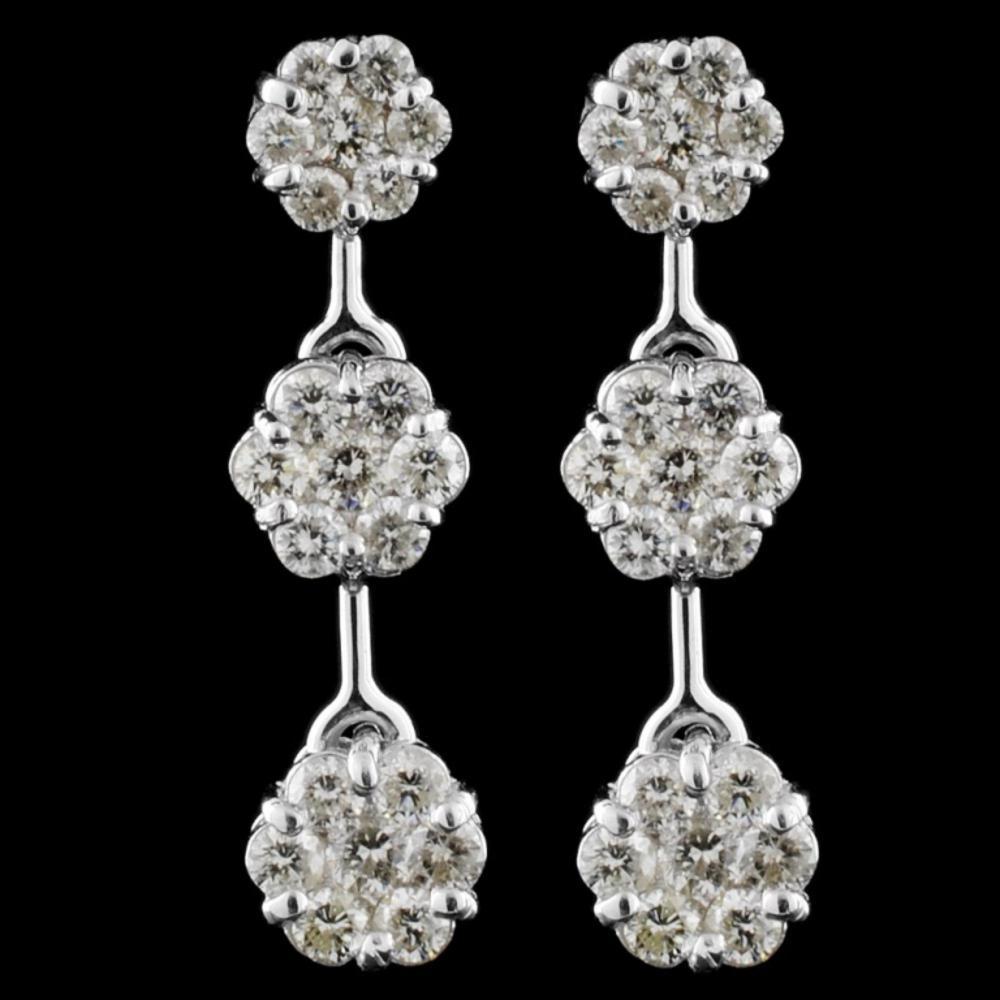 14k White Gold 2.10ctw Diamond Earrings