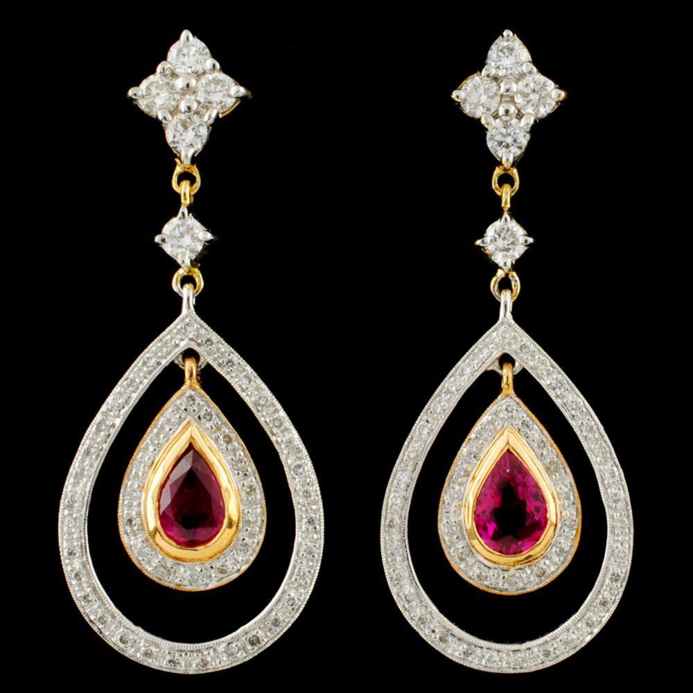 18K Gold 0.98ct Ruby & 0.94ctw Diamond Earrings