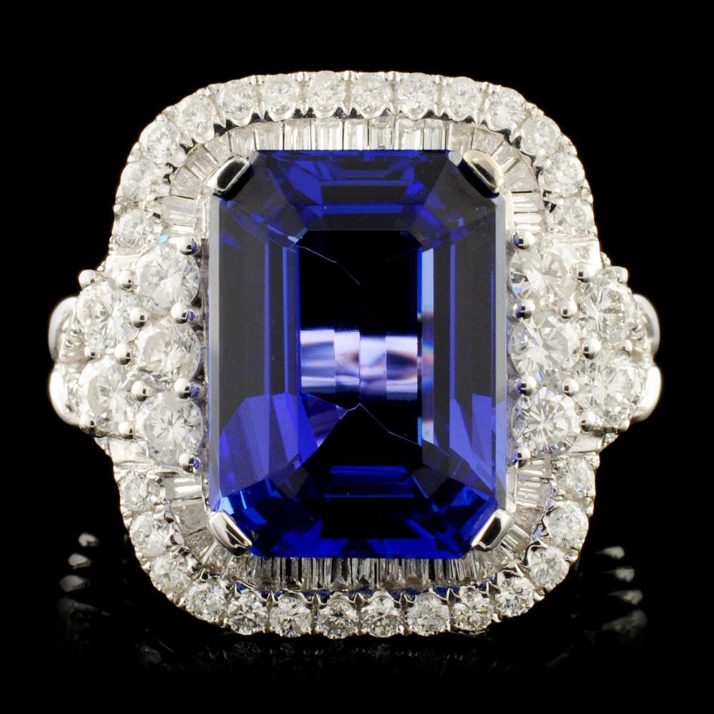 18K Gold 8.13ct Tanzanite & 1.58ctw Diamond Ring