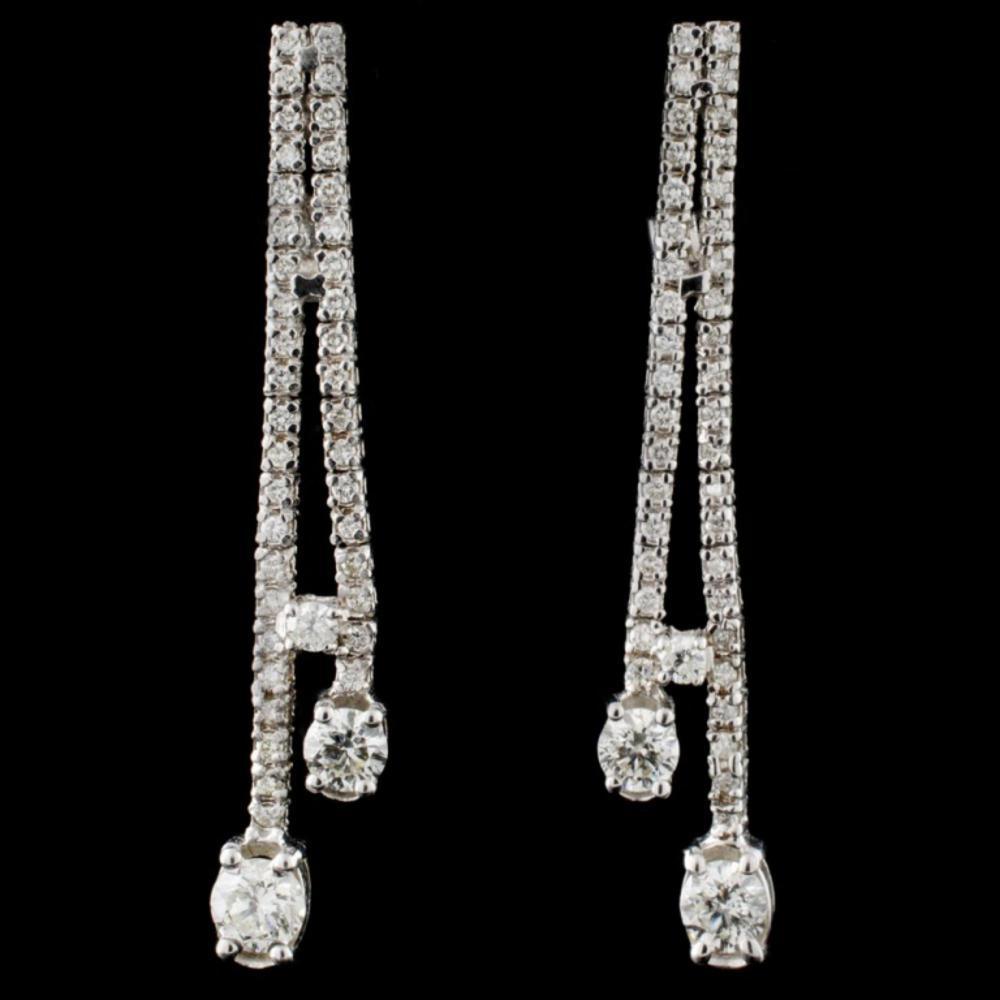 14K White Gold 4.00ctw Diamond Earrings