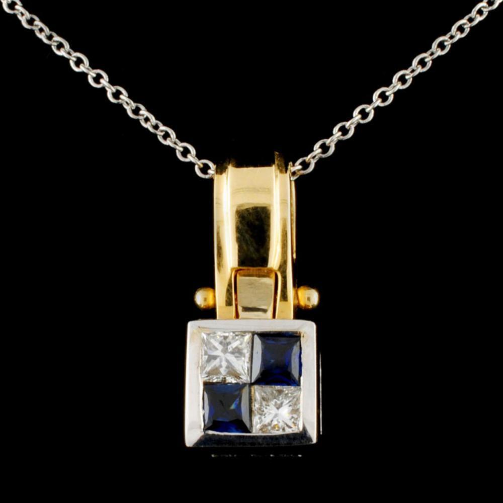 18K TT Gold 0.35ct Sapphire & 0.26ct Diamond Penda
