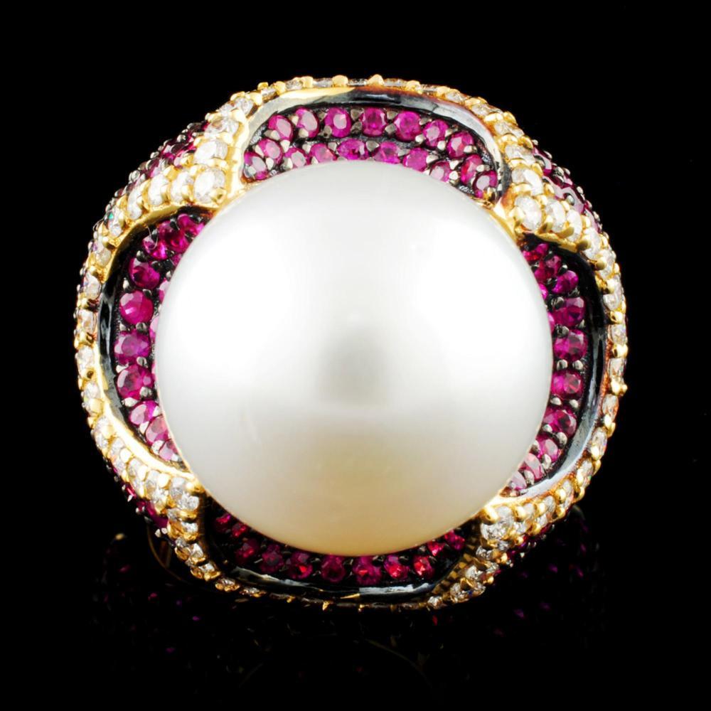 18K Gold 14.50MM Pearl & 0.71ctw Diamond Ring