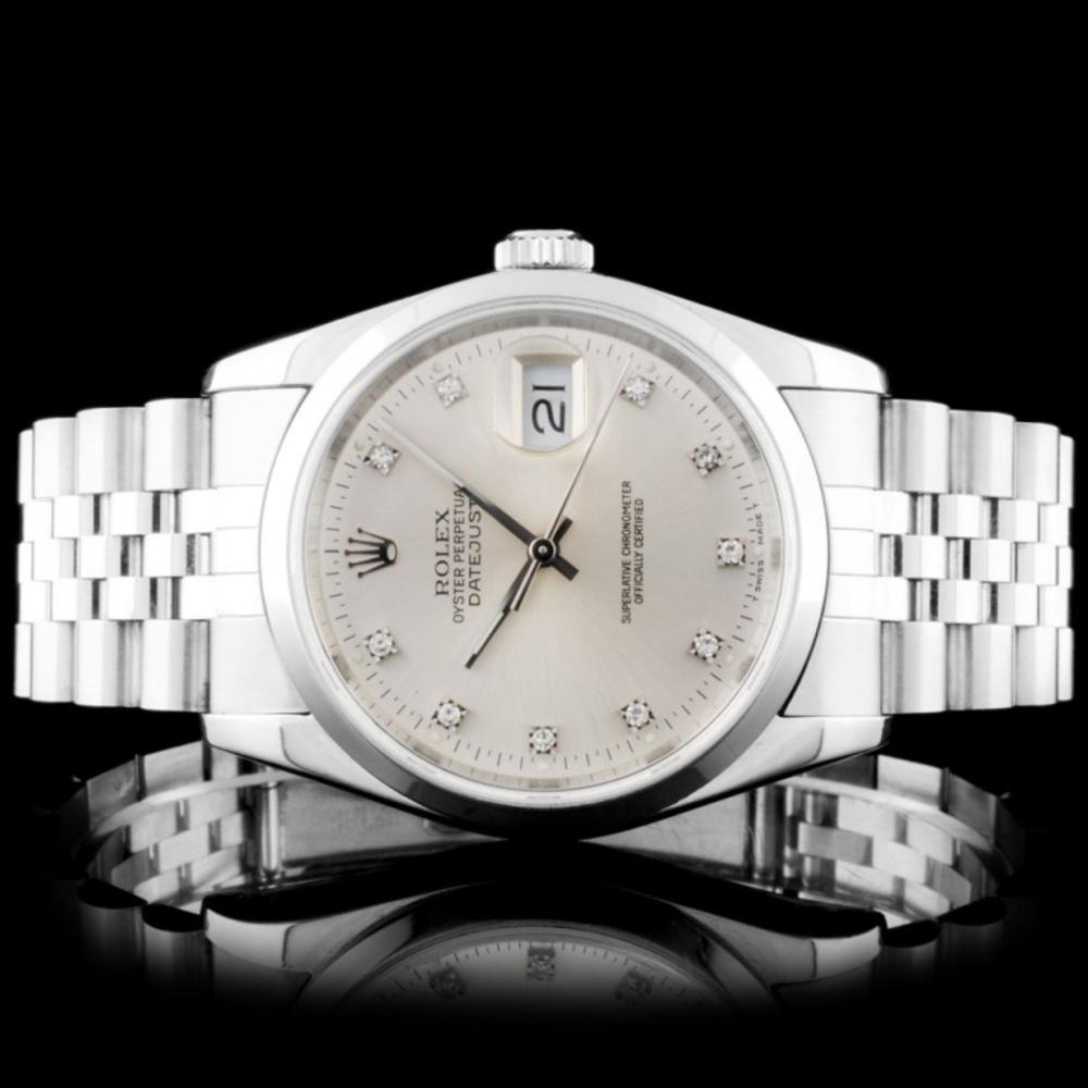 Rolex SS DateJust 36mm Silver Diamond Wristwatch