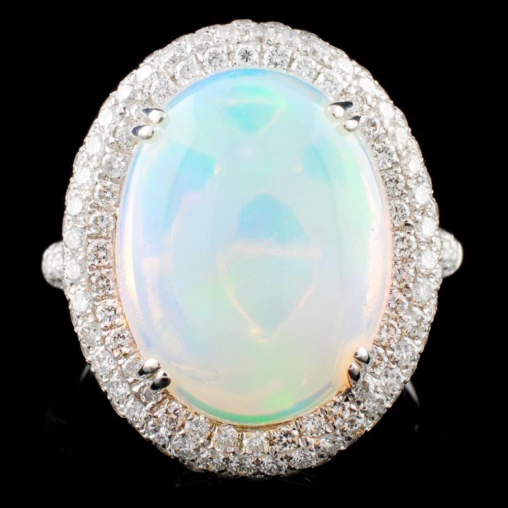 14K White Gold 5.45ct Opal & 1.30ct Diamond Ring