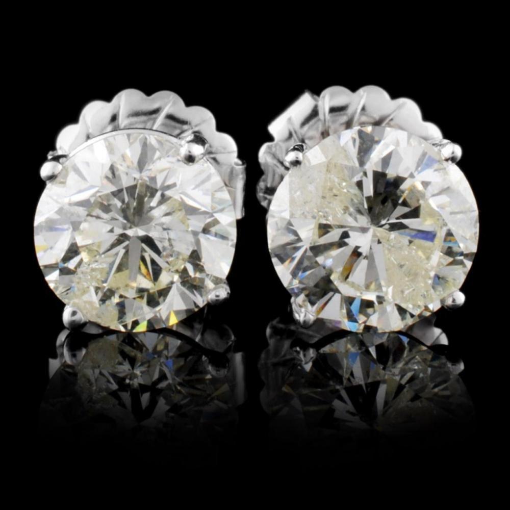 14K White Gold 6.15ct Diamond Earrings
