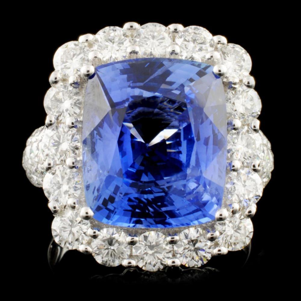 18K Gold 9.28ct Sapphire & 2.70ctw Diam Ring
