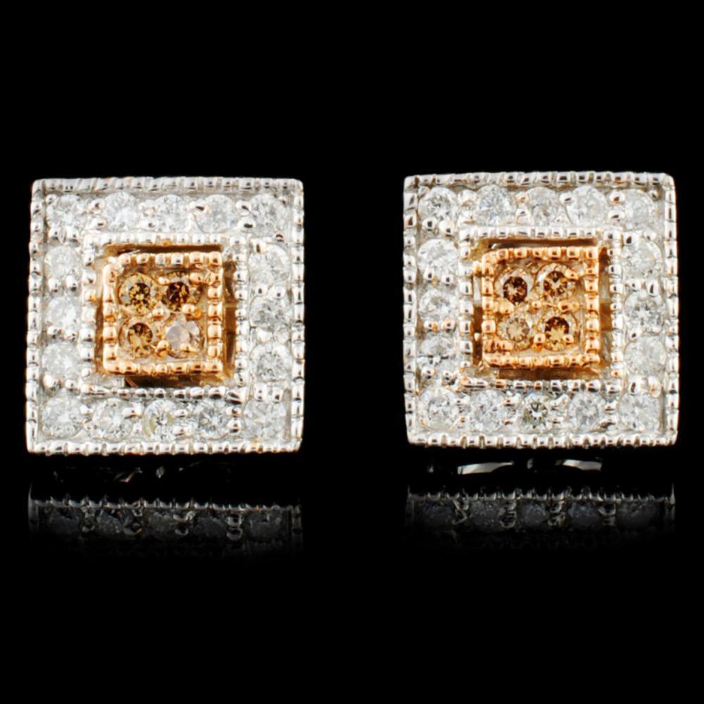 14K Gold 0.45ctw Fancy Diamond Earrings