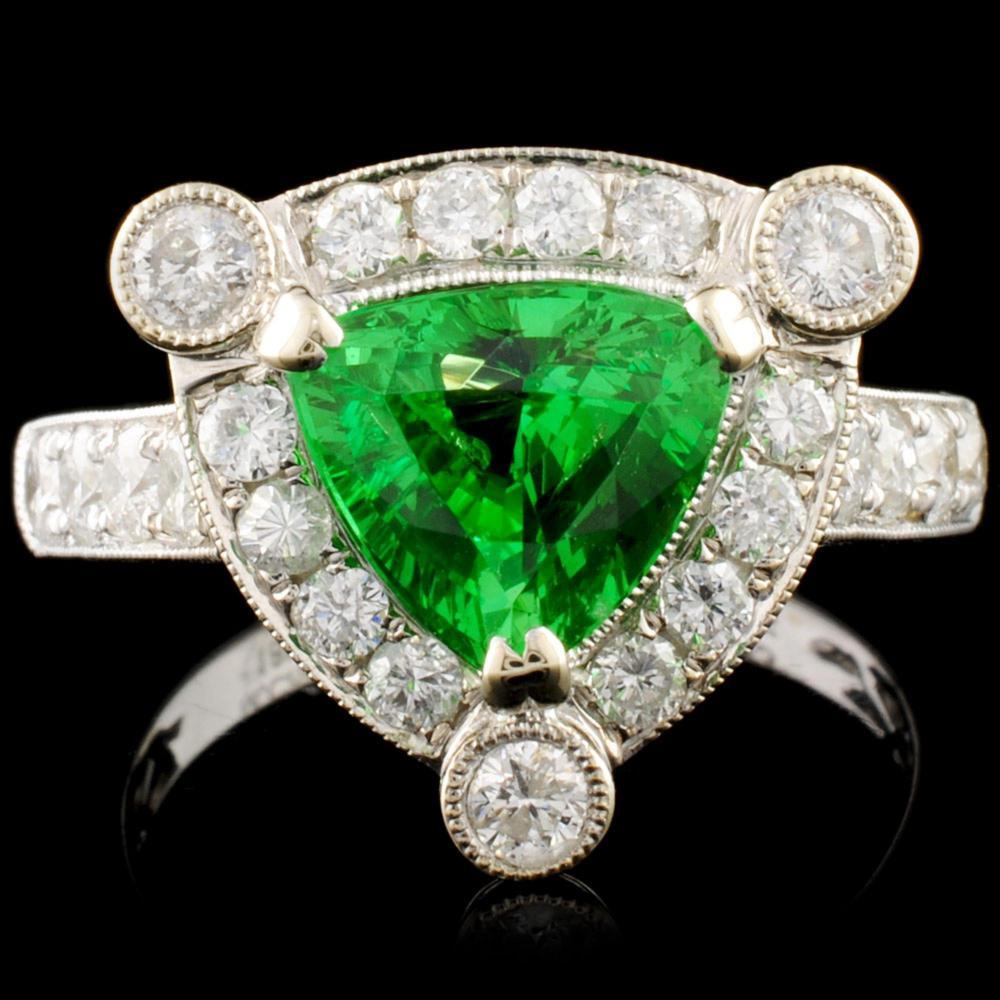 18K Gold 1.93ct Tsavorite & 0.95ctw Diamond Ring