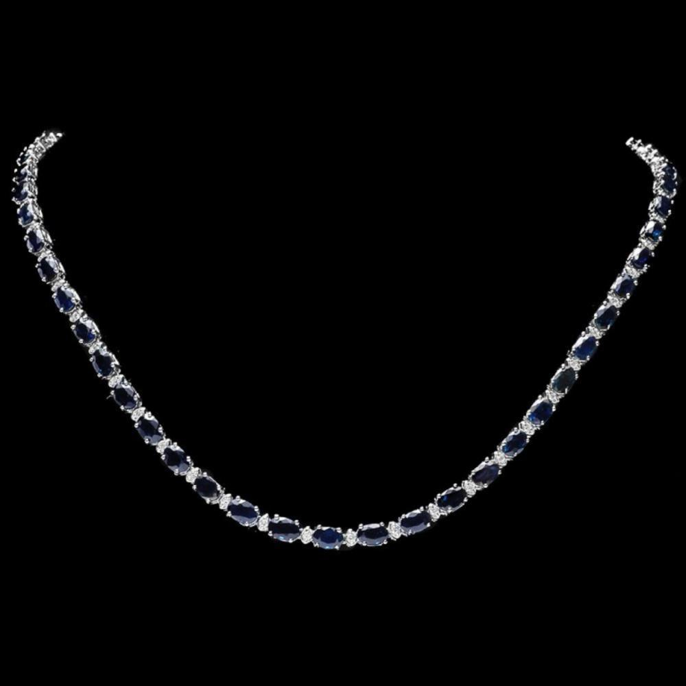 `14k Gold 25.00ct Sapphire & 1.00ct Diamond Neckla