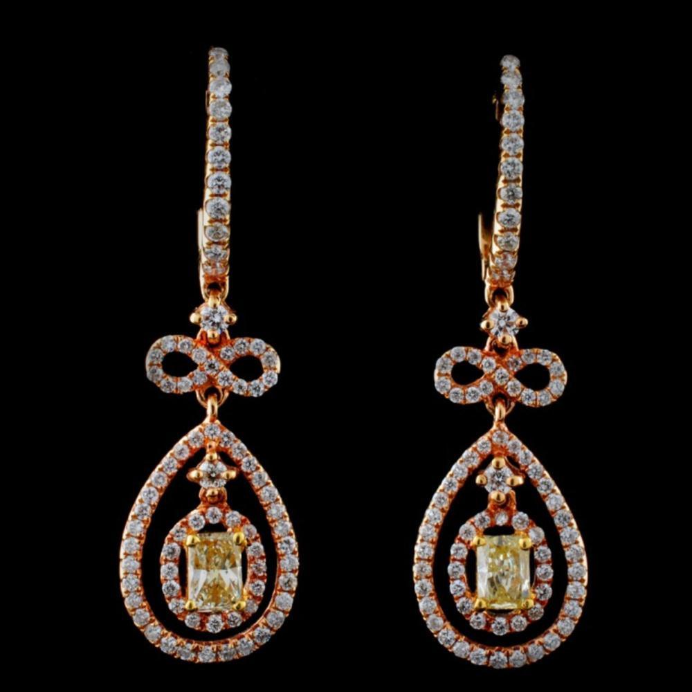 18K Rose Gold 1.48ctw Fancy Color Diamond Earrings