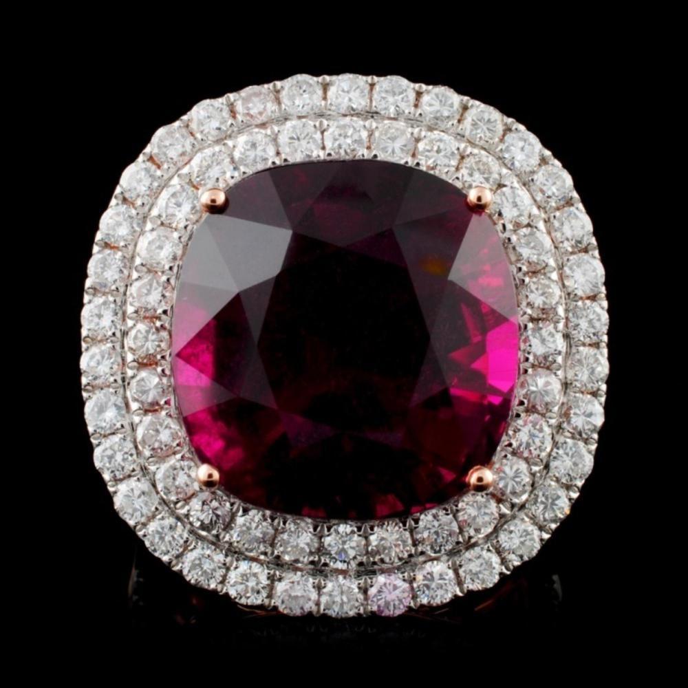 18K Rose Gold 18.74ct Tourmaline & 2.37ct Diamond