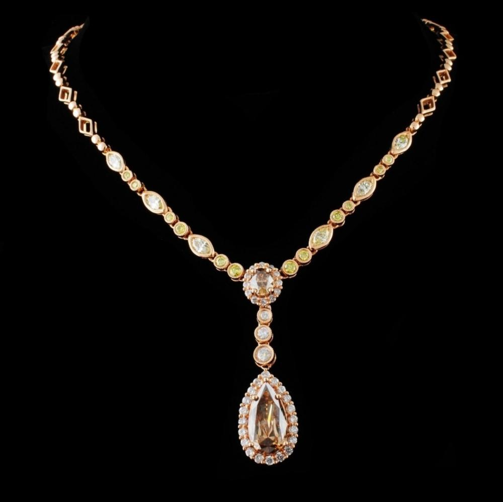 18K Rose Gold 3.87ctw Diamond Necklace