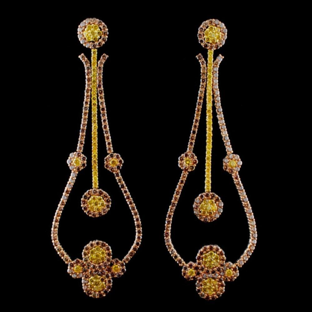 18K Rose Gold 11.00ctw Fancy Color Diamond Earring