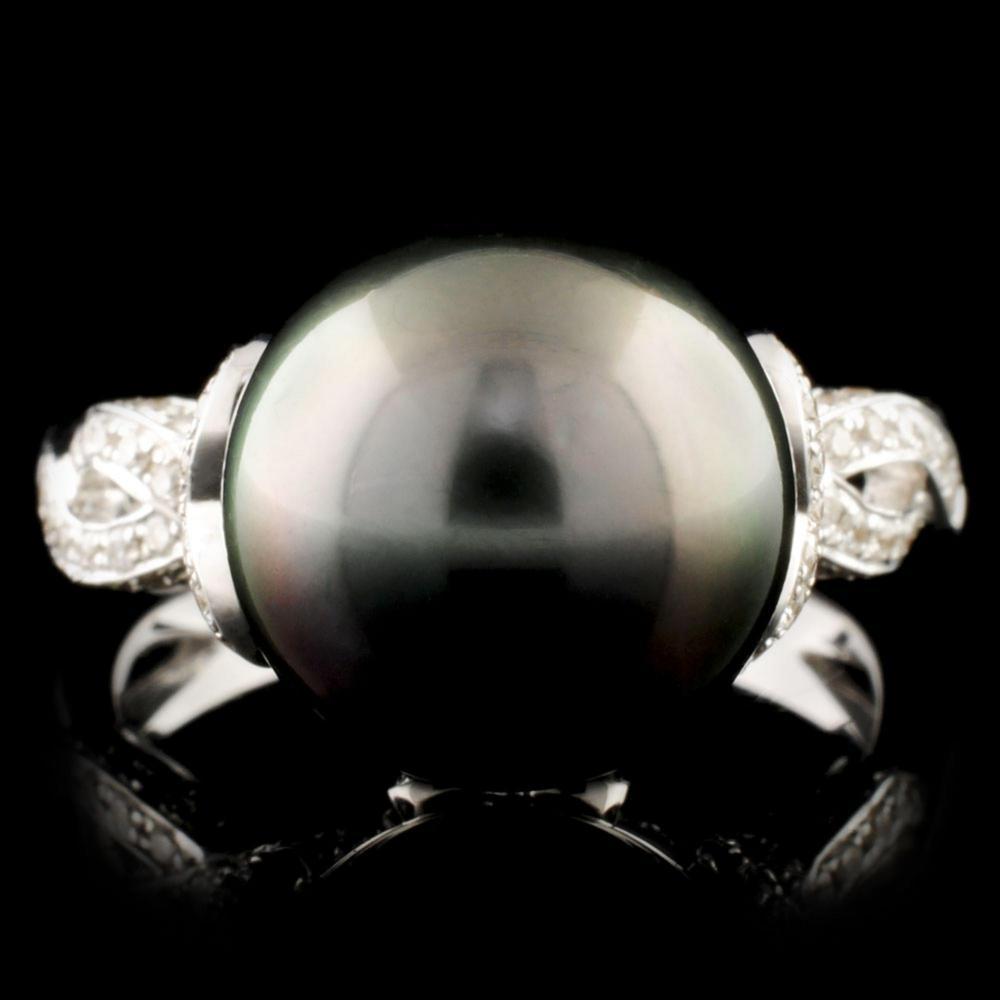 18K Gold 11.50MM Pearl & 0.49ctw Diamond Ring