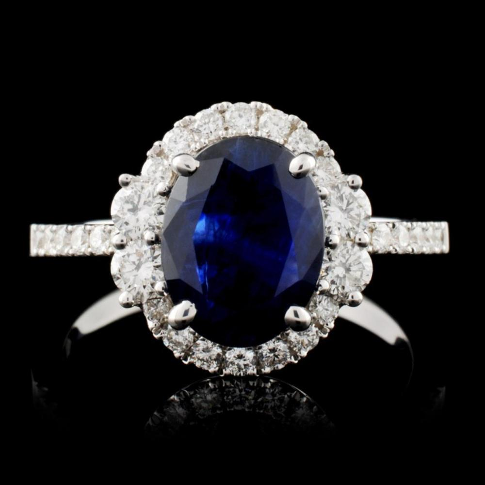 18K W Gold 1.67ct Sapphire & 0.53ct Diamond Ring