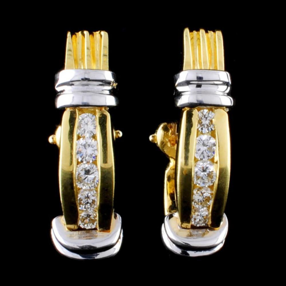 18K TT 0.50ct Diamond Earrings