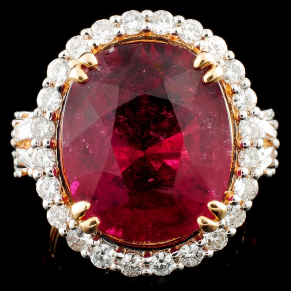 18K Gold 11.15ct Rubellite & 1.26ctw Diamond Ring