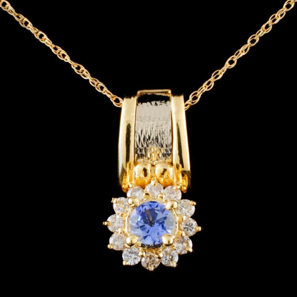 14K Gold 0.50ct Tanzanite & 0.38ctw Diamond Pendan