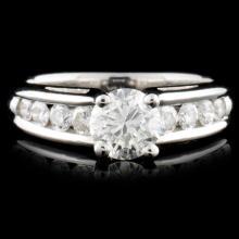 Solid Platinum 0.98ctw Diamond Ring
