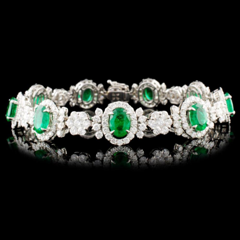 Lot 1: 18K Gold 15.04ct Emerald & 7.29ctw Diamond Bracele