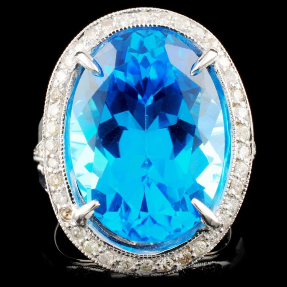 18K Gold 14.85ct Topaz & 0.66ctw Diamond Ring