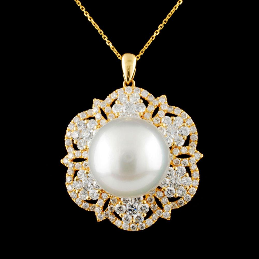 18K Gold 14.00MM Pearl & 2.26ctw Diamond Pendant