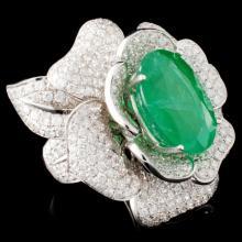 Lot 7: 18K Gold 11.21ct Emerald & 5.52ctw Diamond Ring