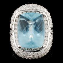Lot 10: 18K Gold 10.82ct Aquamarine & 3.76ctw Diamond Ring