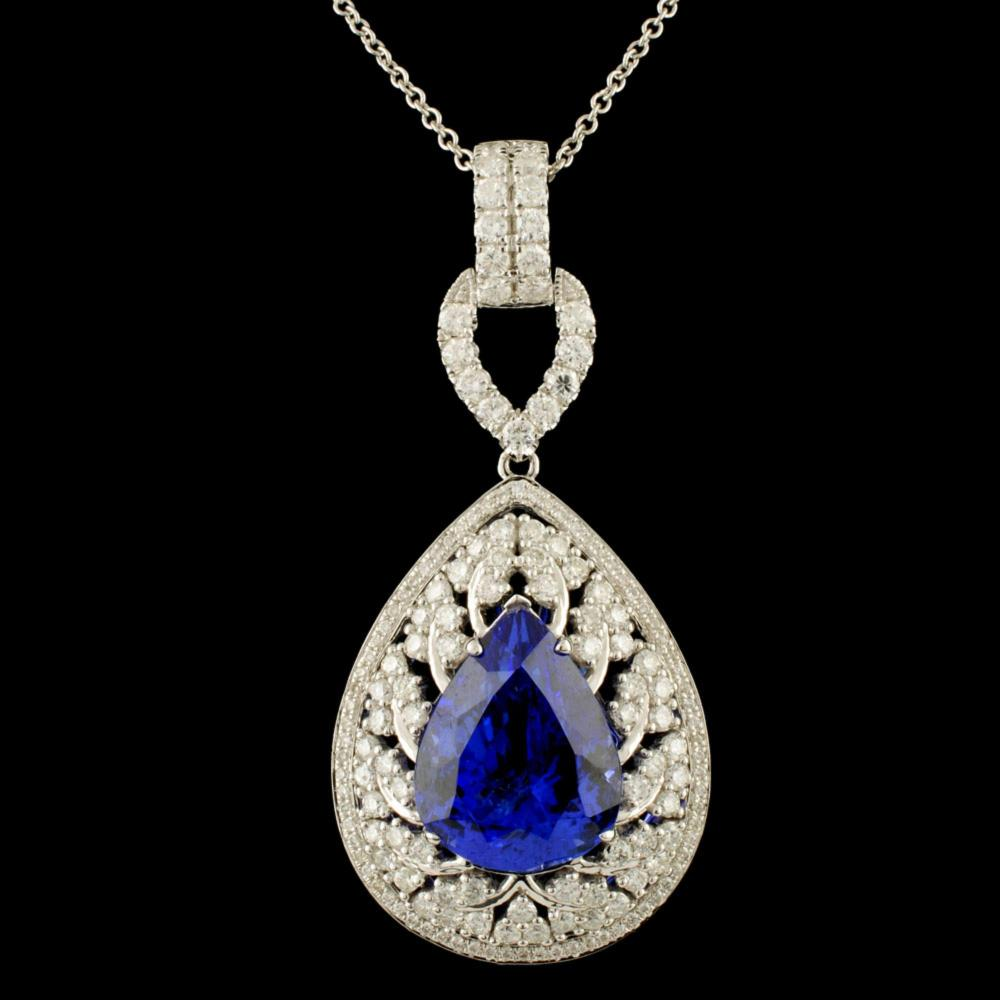 18K Gold 8.67ct Tanzanite & 1.70ctw Diamond Pendan