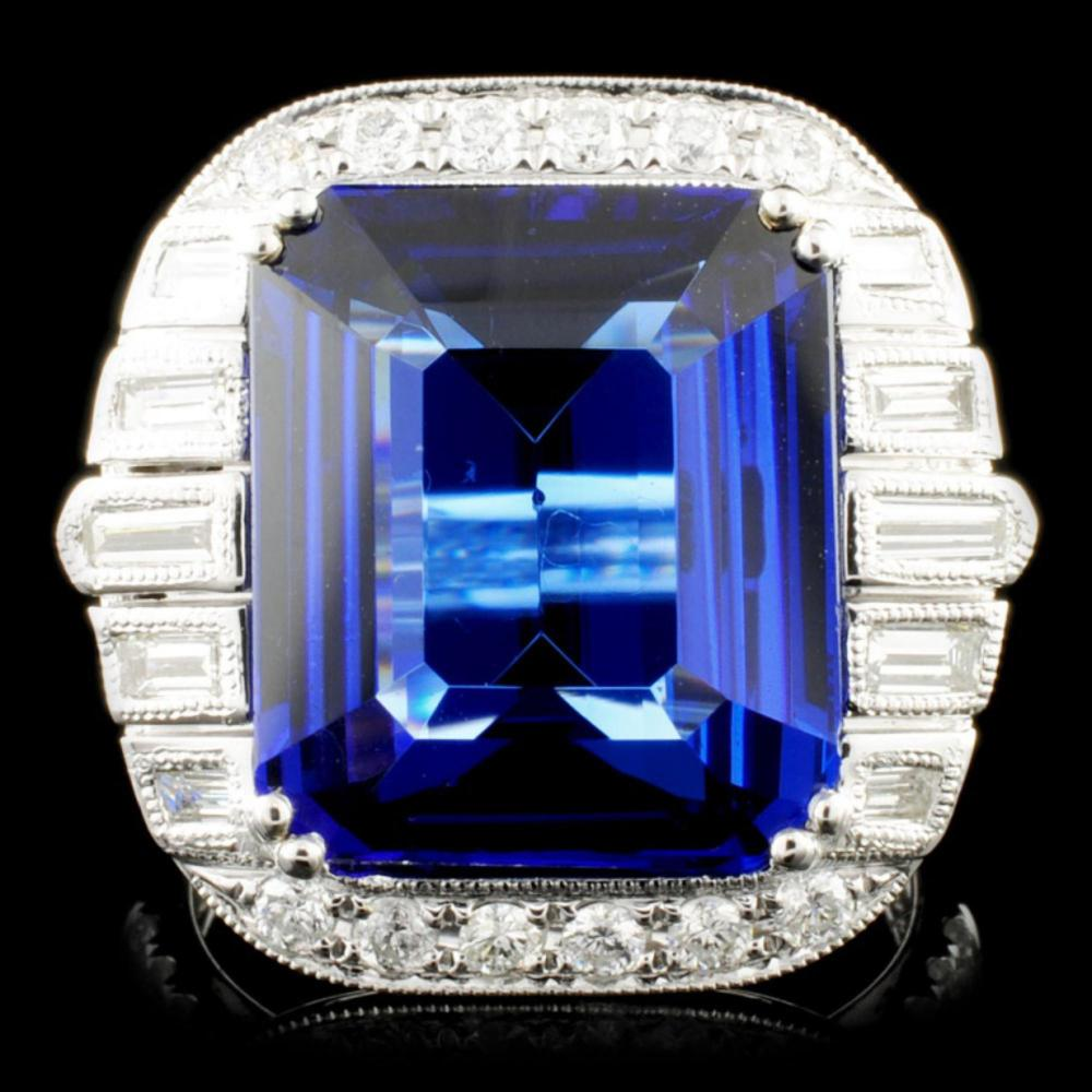 18k Gold 11.23ct Tanzanite & 1.36ctw Diamond Ring