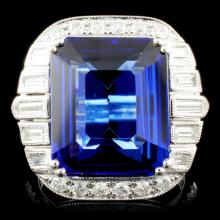 Lot 17: 18k Gold 11.23ct Tanzanite & 1.36ctw Diamond Ring