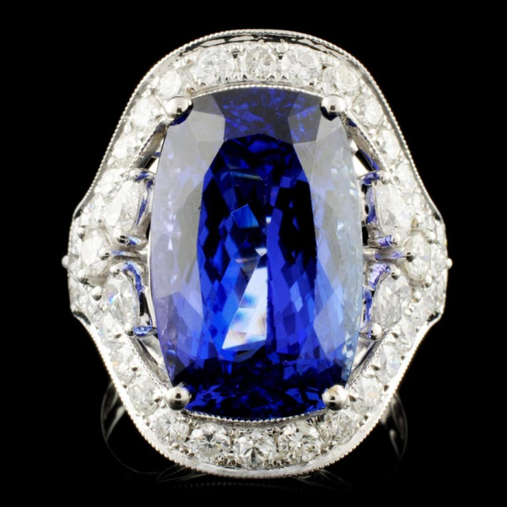 18K Gold 11.28ct Tanzanite & 1.82ctw Diamond Ring