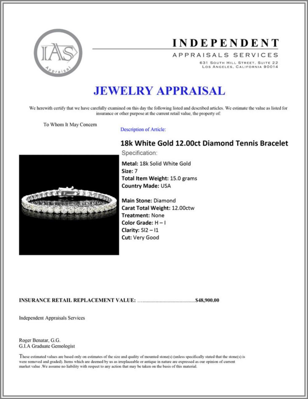 Lot 28: ^18k White Gold 12.00ct Diamond Tennis Bracelet