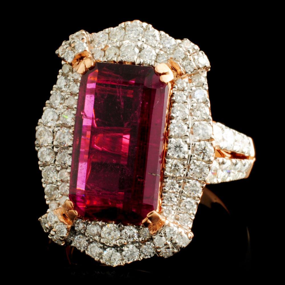 Lot 30: 18K Gold 5.48ct Tourmaline & 1.54ctw Diamond Ring