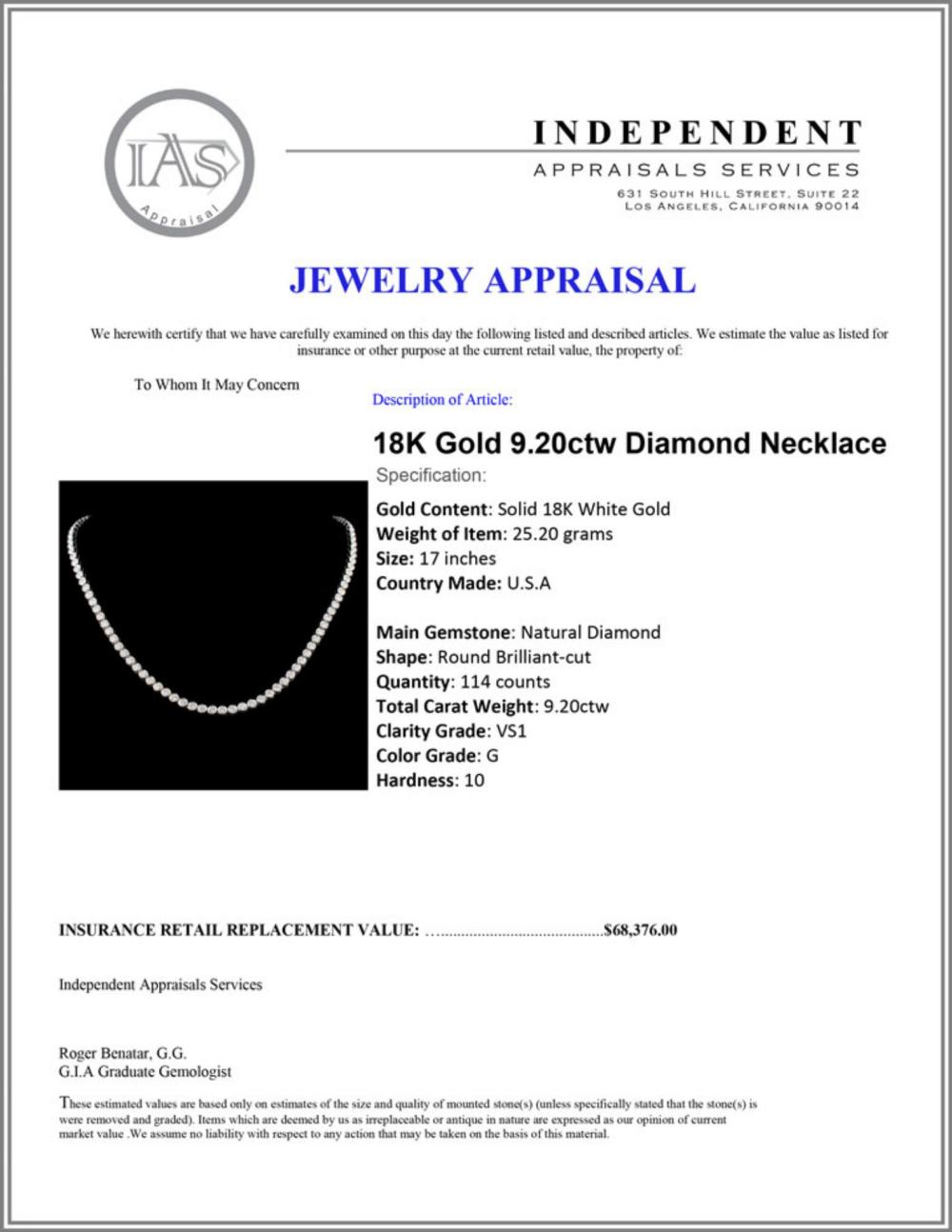 Lot 33: 18K Gold 9.20ctw Diamond Necklace