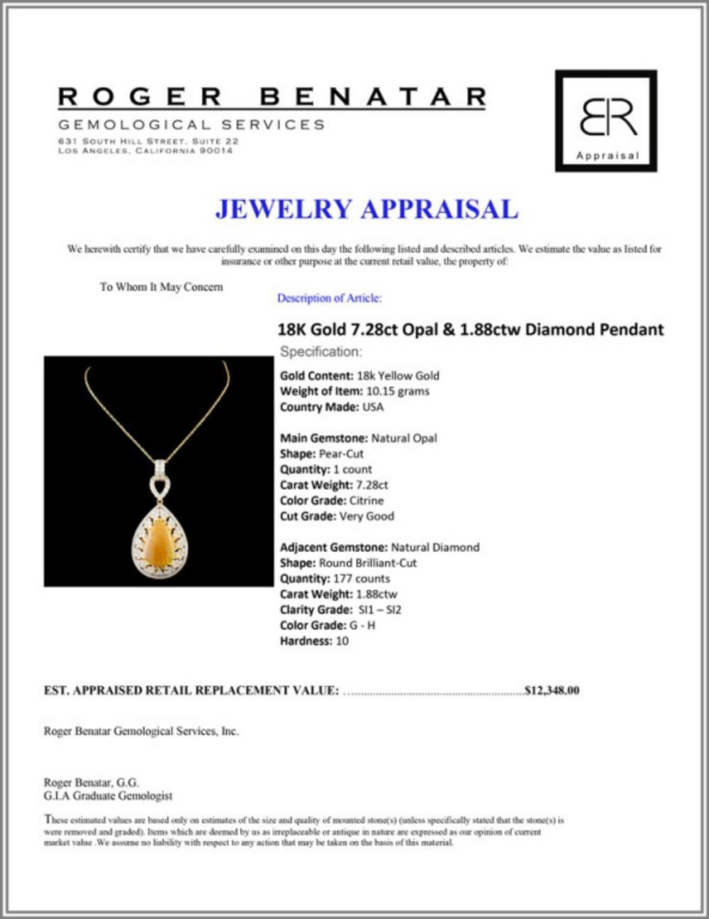 Lot 35: 18K Gold 7.28ct Opal & 1.88ctw Diamond Pendant
