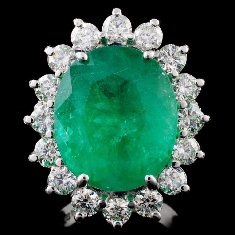 18K Gold 11.30ct Emerald & 2.54ct Diamond Ring