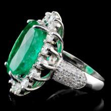Lot 37: 18K Gold 11.30ct Emerald & 2.54ct Diamond Ring