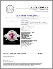 Lot 44: 18K Gold 1.33ct Spinel & 0.53ctw Diamond Ring