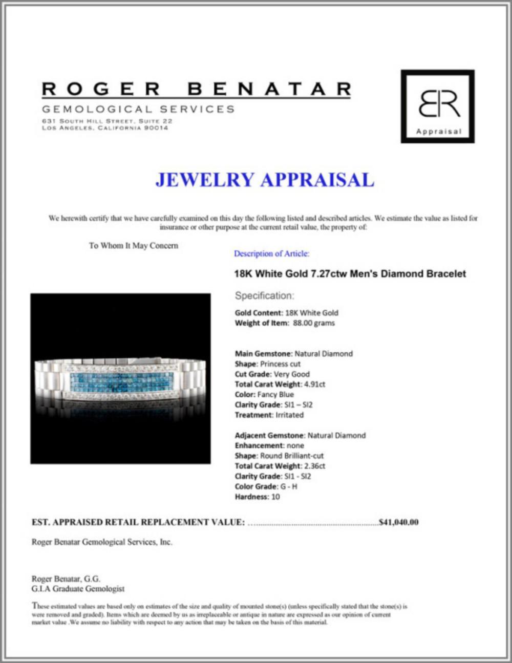 Lot 45: 18K Gold 7.27ctw Men's Diamond Bracelet
