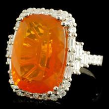 Lot 47: 18K Gold 11.31ct Opal & 1.44ctw Diamond Ring