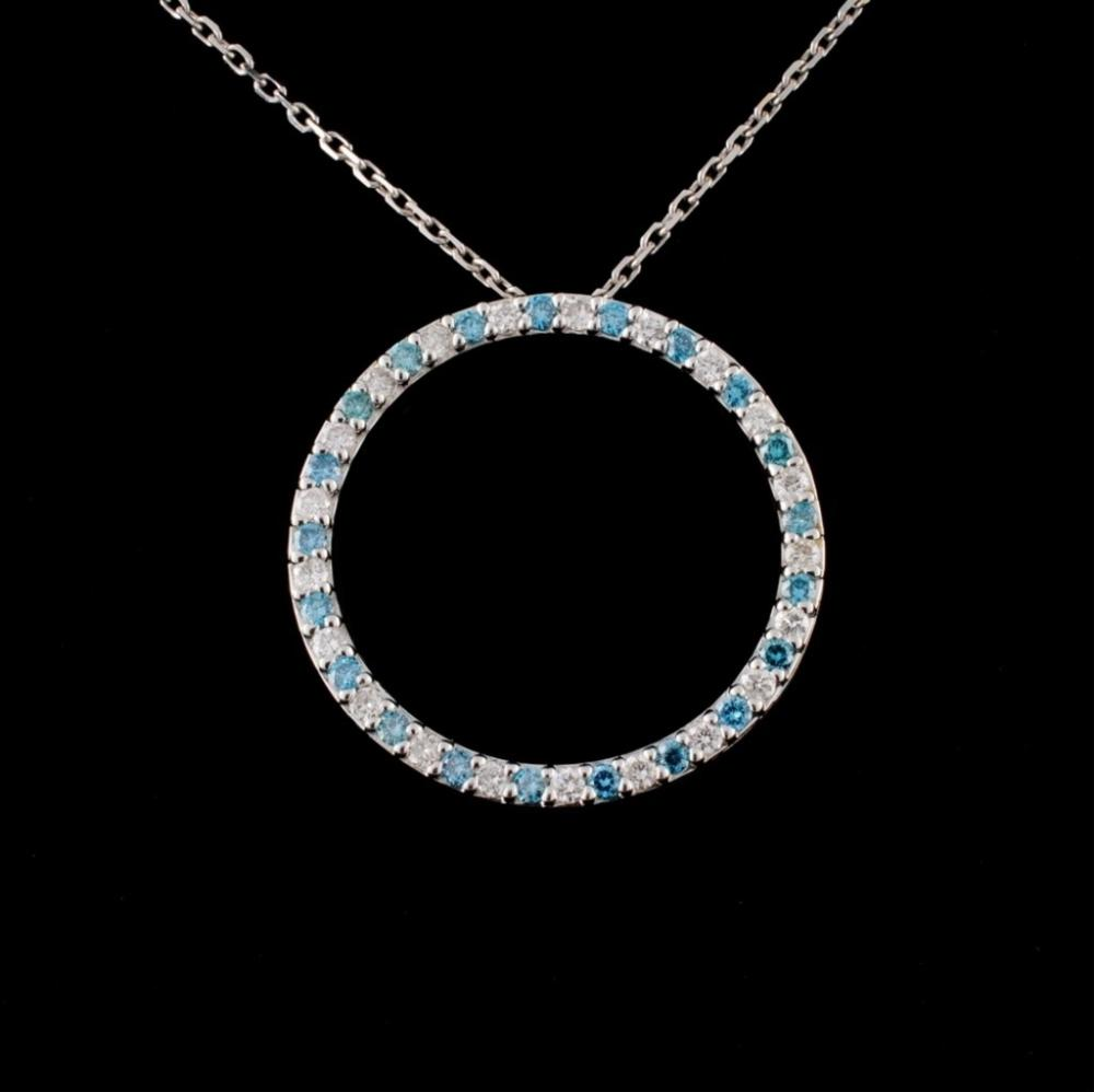 18K White Gold 0.62ctw Diamond Pendant