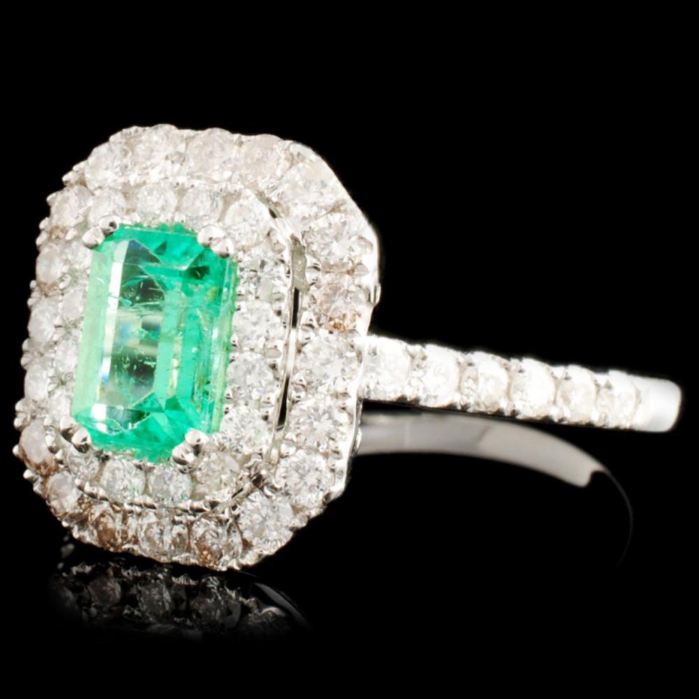 Lot 53: 18K Gold 0.70ct Emerald & 0.86ctw Diamond Ring