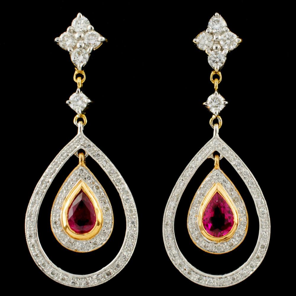 18K Gold 0.98ct Ruby & 0.94ctw Diamond Earrings