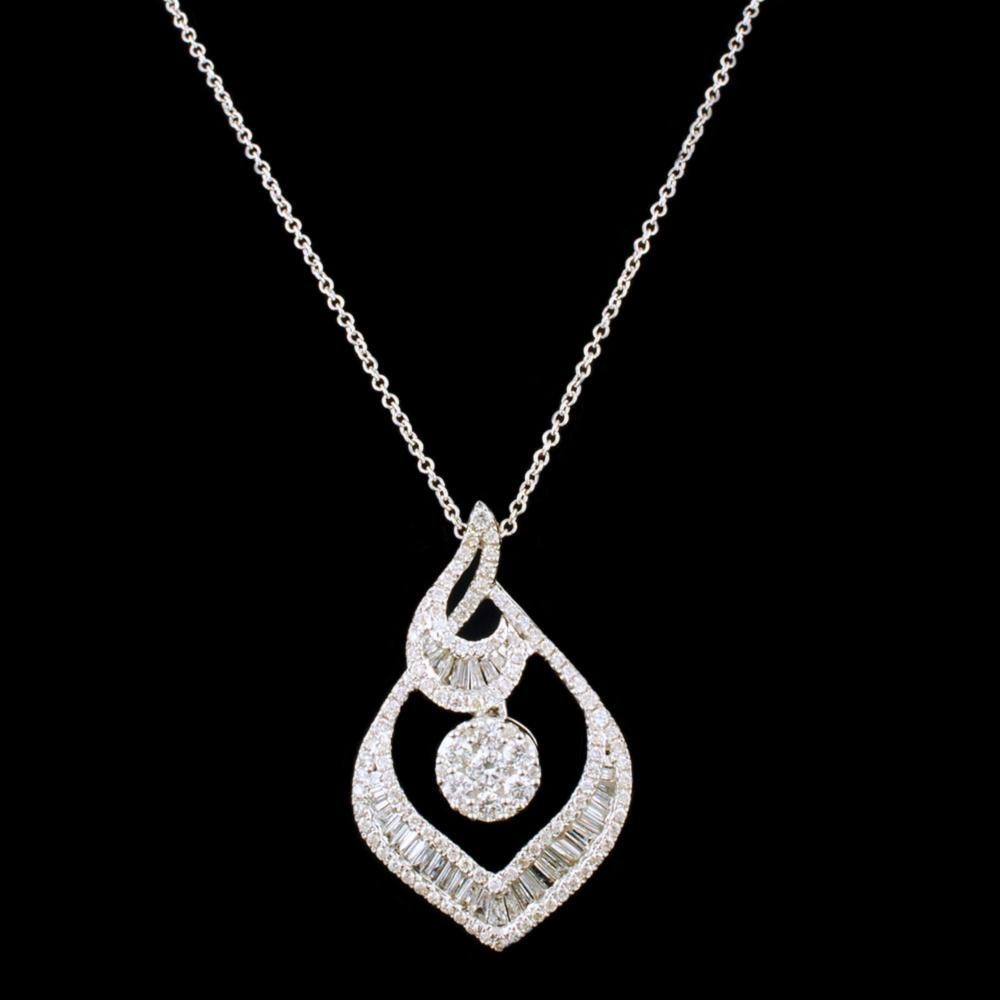 18k White Gold 0.85ctw Diamond Pendant