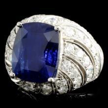 Lot 67: 18K Gold 10.60ct Sapphire & 2.87ctw Diamond Ring