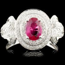 Lot 71: 18K Gold 0.68ct Ruby & 0.36ctw Diamond Ring