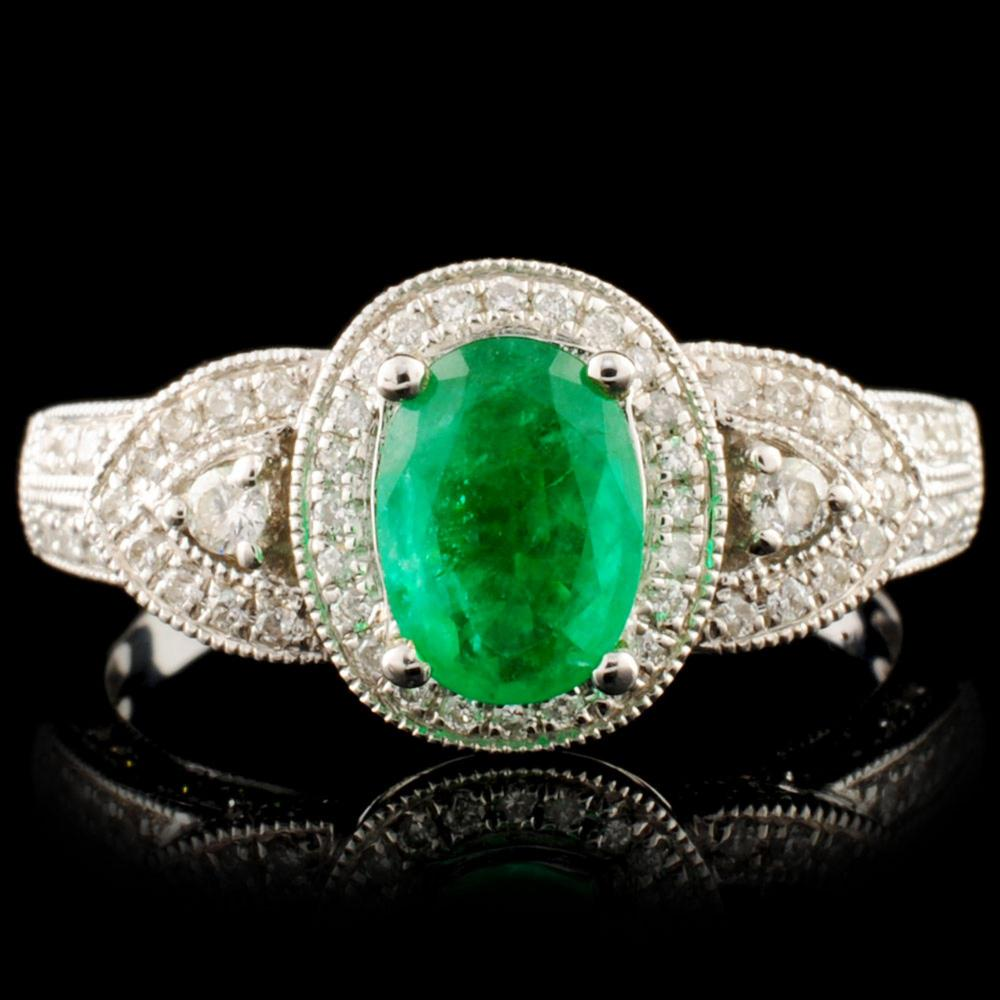 18K Gold 0.71ct Emerald & 0.48ctw Diamond Ring