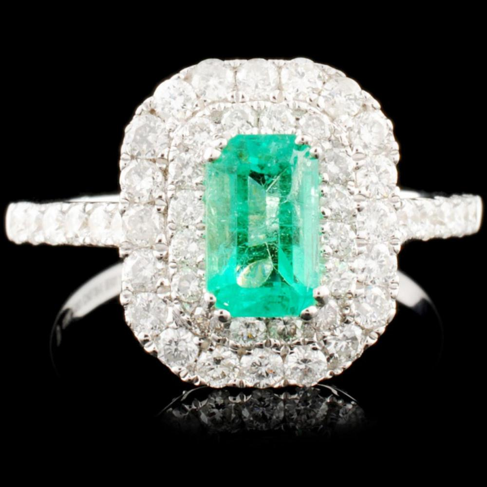 18K Gold 0.79ct Emerald & 0.91ctw Diamond Ring