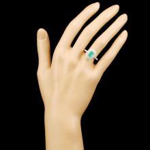 Lot 75: 18K Gold 0.79ct Emerald & 0.91ctw Diamond Ring